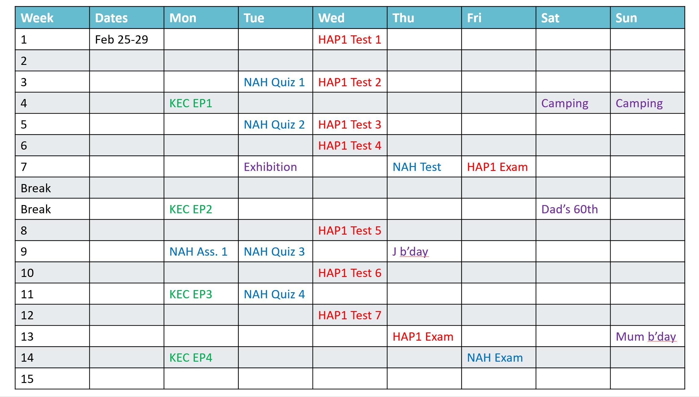 Semester plan